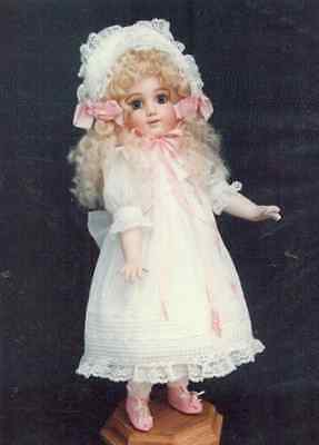 "15""ANTIQUE FRENCH BRU/JUMEAU DOLL DRESS w/COLLAR&TIES/HAT PATTERN GERMAN CHILD"
