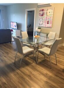 Glass structube dining table and chairs
