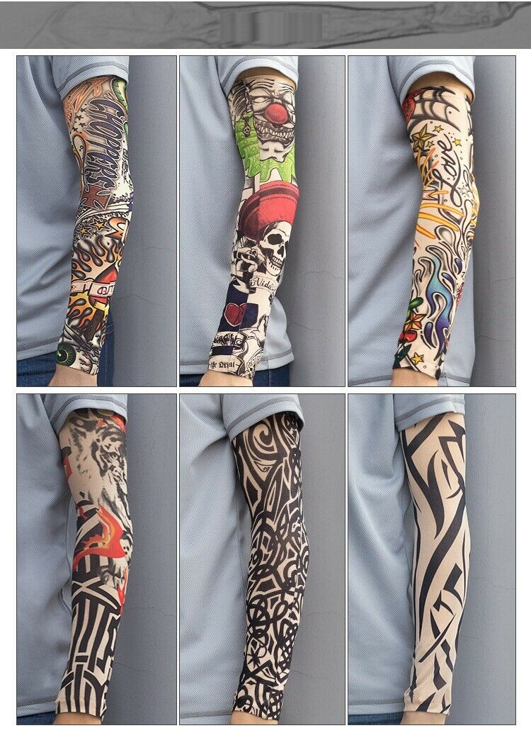 6pcs Tattoo Cooling Arm Sleeves Cover Basketball Outdoor Sport UV Sun Protection Basketball