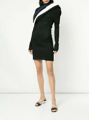 Y/Project off-shoulder knitted dress Brand New -Size L- Black /Stripe/ Trendy