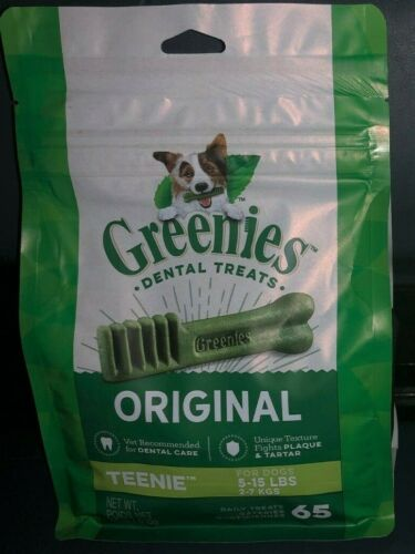 GREENIES Original TEENIE Dental Dog Treats, 65 Treats BEST BEFORE 11 SEPT 2021