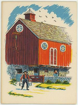 VINTAGE PENNSYLVANIA DUTCH RED BARN HORSE HEX SIGN NOTE CARD MINIATURE ART PRINT
