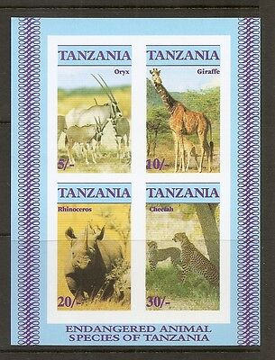 Tanzania SC # 322a Endangered Wildlife , Imperforated. Souvenir Sheet  .MNH