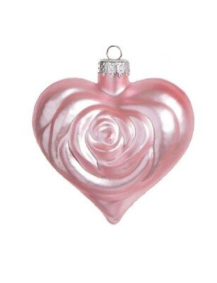 - Lot of 8 Rose Heart Ornaments - Pink  2.5