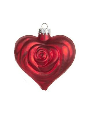 - Lot of 24 Rose Heart Ornaments - RED  2.5