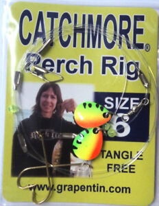 Perch Rigs, Catchmore, THREE Pks, Size 6 Hook, Fire Tiger, Tangle Free! #PR8-6