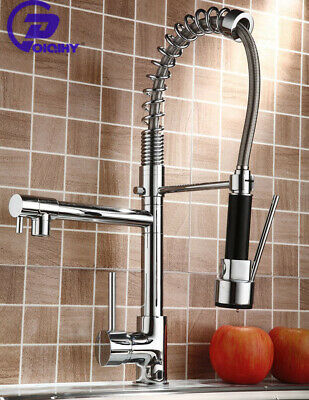 Chrome Kitchen Faucet Swivel Single Handle Sink Pull Down Sprayer Mixer Tap
