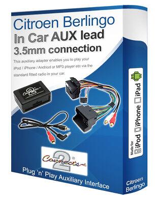 Citroën Berlingo Aux Cable , Ipod IPHONE MP3 Player, Citroen Auxiliar Adaptador