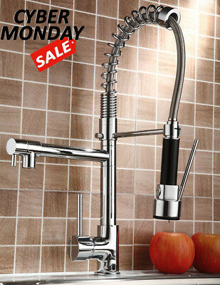 Chrome Kitchen Faucet Revolve Spout Single Handle Sink Pull Down Spray Mixer Tap