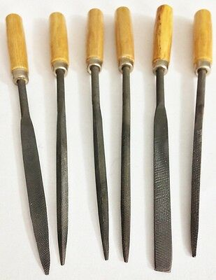 "6pc 6-1/2"" Coarse Cut Needle File Set Wood Handle"