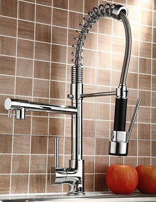 Chrome Brass Kitchen Faucet Pull Down Spray Sink Single Hole Deck Mount Mixe Tap