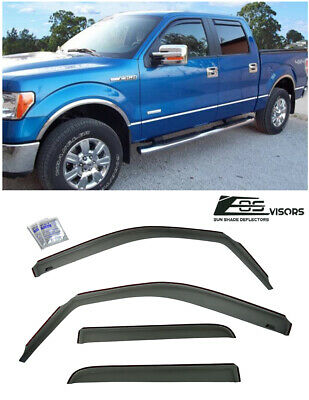 IN-CHANNEL Window Visors Side Rain Guard Deflectors For 09-14 Ford F150 Crew Cab