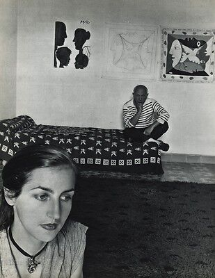 1955 Vintage PABLO PICASSO & WIFE Vallauris France Art By ROBERT DOISNEAU 16x20