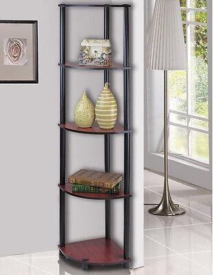 Furinno 5-Tier Lima Corner Display Rack Shelf, Dark Cherry Black 99811DC/BK New
