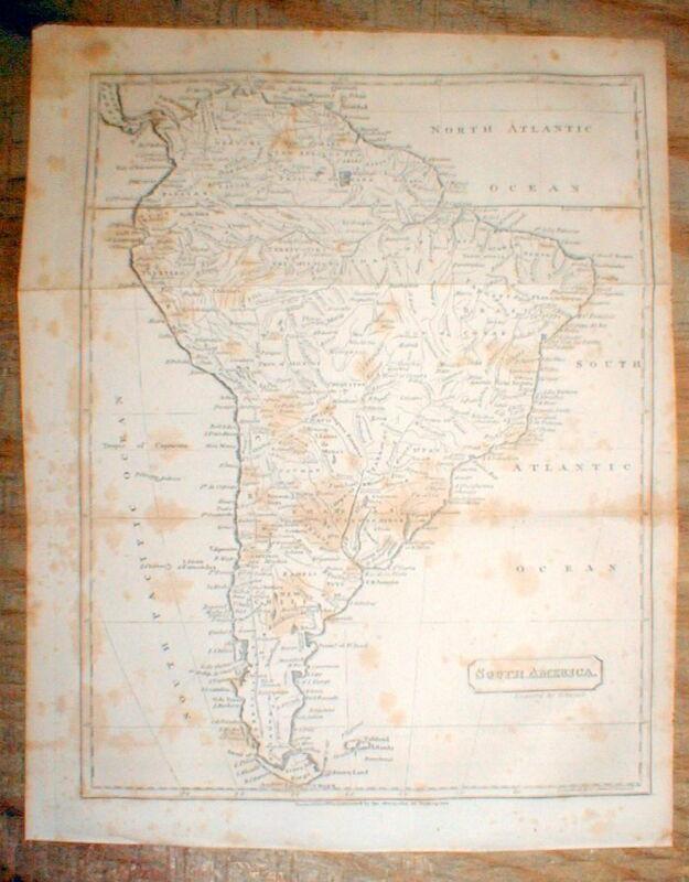 Original 1809 map of SOUTH AMERICA engraved before the SIMON BOLIVAR REVOLUTIONS