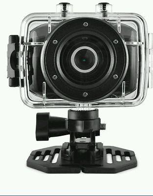 Ematic Actioncam Hd Waterproof Cam Video Camera With Helmet Mount & Post Mount
