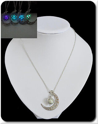 Halskette Kette Anhänger Nachtleuchtend Mond Mondanhänger Nach-Leuchten  Herz
