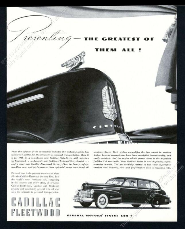 1941 Cadillac Fleetwood limousine chauffeured car art vintage print ad
