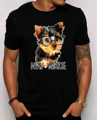 🔥 New Yorkie T-shirt Funny Yorkshire dog puppy gift cute dog with glasses (Funny Glasses T-shirt)