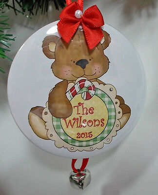 6 Duty PERSONALIZED CHRISTMAS ORNAMENTS TEDDY BEAR YOUR NAME YEAR & DATE