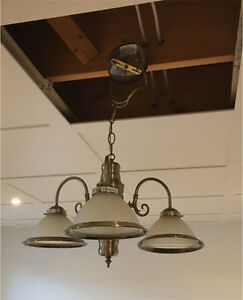 Dining room antique nickel light fixture with three lights