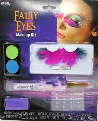 Fun World Halloween Fairy Eyes Makeup Eyelashes Glitter Kit Costume Accessories - Fun World Halloween Makeup