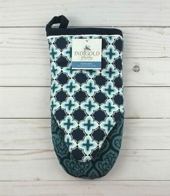 (Kay Dee Designs Oven Mitt Indigold by Lisa Audit Flowers Blue Teal)
