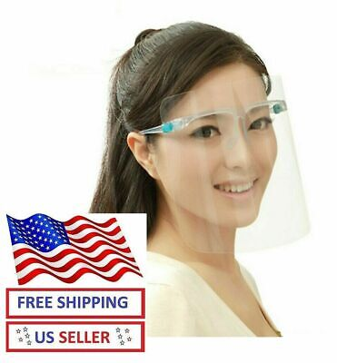 Full Face Shield Safety Reusable Washable Protection Cover Face Mask W Glasses