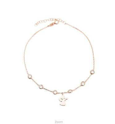 Sterling Silver 925 Delicate Angel Design Anklet In Rosegold Plate