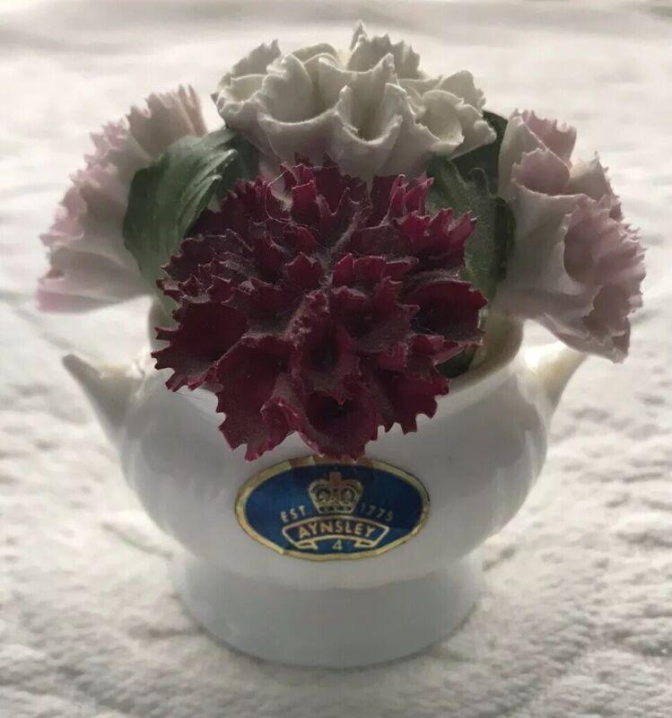 Aynsley August Carnation Bouquet~ Fine Bone China Arrangement