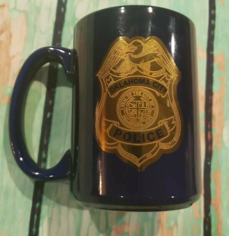 OKCPD Oklahoma City Police Department Coffee Cup Mug Blue Vintage