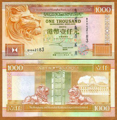 Hong Kong   1000  2000  Hsbc  P 206A  Unc   Lion  Scarce Date