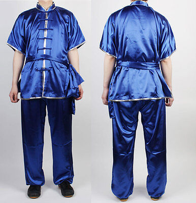 ChangQuan Uniforms SizeL Wushu KungFu Blue Uniform Taichi Kung Fu Chinese Silver