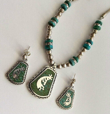 CAROLYN POLLACK Relios Sterling Silver Turquoise Inlaid Necklace Earrings Set