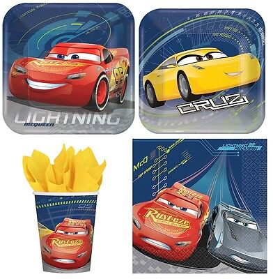 NEW Disney Cars 3 Combo Party Express Pack for 8 Guests (Cups Napkins & Plates)