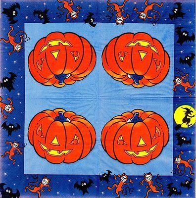 Lote de 4 Toallas papel Halloween Calabaza para el corte Collage Decopatch