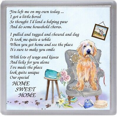 """Labradoodle Dog Coaster """"HOME SWEET HOME Poem .."""" Novelty Gift by Starprint for sale  Yeovil"""