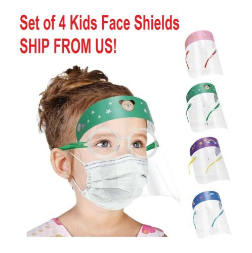4 Pcs Kids Cartoon Anti-fog Face Shields Safety Goggle Glasses Face Covering