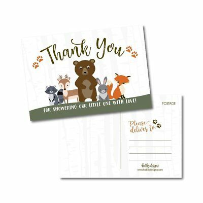25 Girl or Boy Woodland Baby Shower Thank You Note Card Bulk Set, Blank Cute... ()