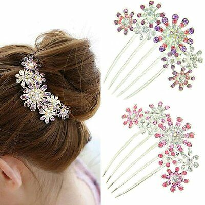Steckkamm Strass Haarschmuck Haargesteck Haarkamm Blumen LILA ROSA Haarspange