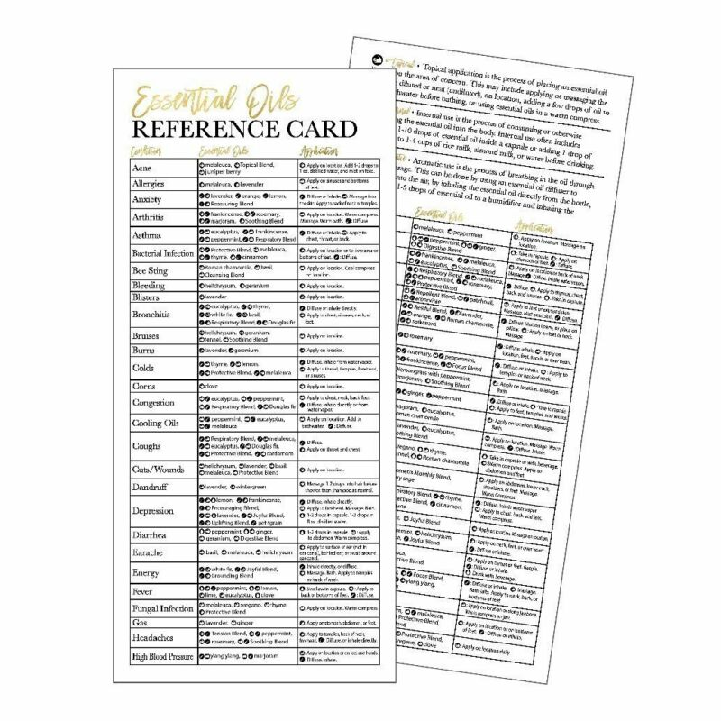 25 4x9 Essential Oil Reference Cards, Doterra or Young Living YL Distributor...
