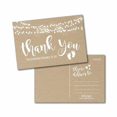 25 Girl or Boy Rustic Baby Shower Thank You Note Card Bulk Set, Blank Cute... ()