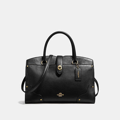 NEW Coach Mercer 30 Black Leather Satchel Handbag 37575