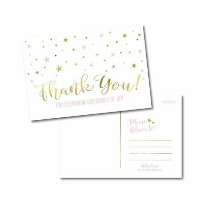 25 Girl Baby Shower Thank You Note Card Bulk Set, Blank Pink and Gold Cute... ()