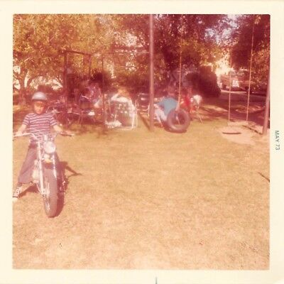 BOY MINI BIKE MOTORCYCLE TIRE SWING FAMILY BACKYARD PICNIC KIDS VTG 1970s PHOTO