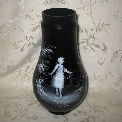 """Antique Hand Blown Hand Painted Mary Gregory Black Glass Vase 9 1/2"""" in height"""