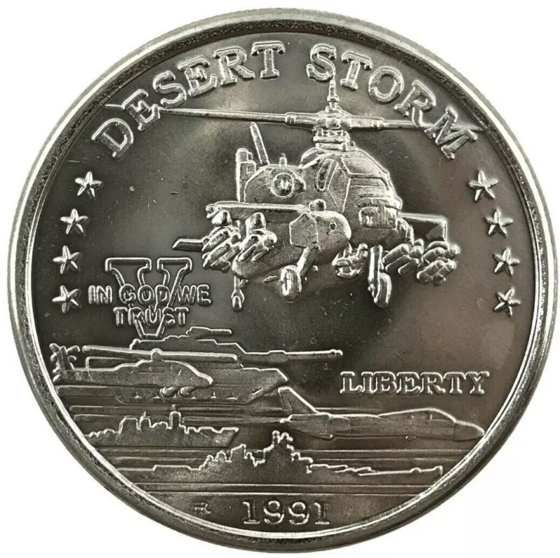 1991 Desert Storm Coin Hutt River Province $5 Dollars AH-64 Apache Helicopter BU