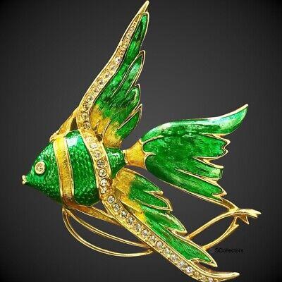 NEW Swarovski Crystal Tropical Fish Brooch, Angel Fish Green Enamel (Swarovski Crystal Angel Pin)