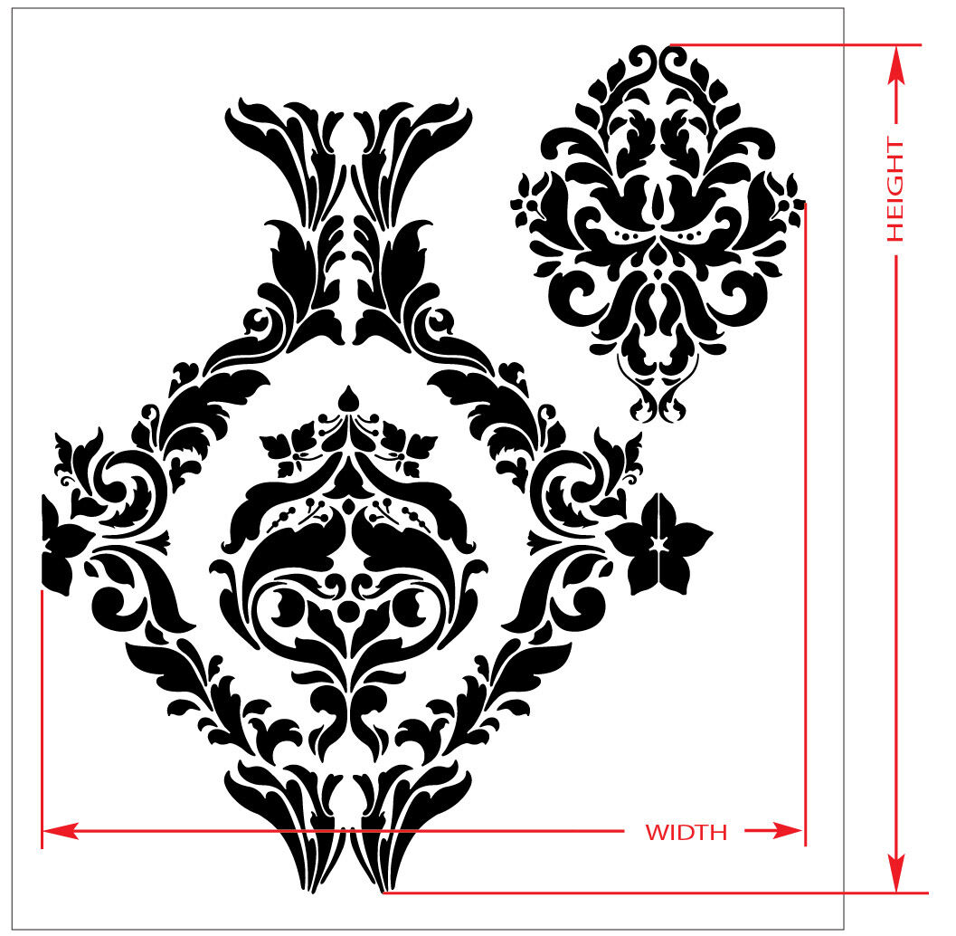Large wall damask stencil pattern faux mural decor 1007 for Damask wall mural