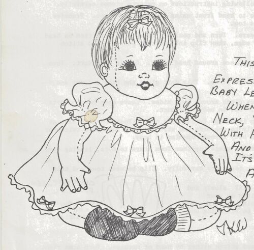 "28""CLOTH/SOFT SCULPTURE 6-9 mo. BABY DOLL w/SWIVEL HEAD PINAFORE DRESS PATTERN"